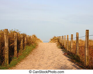 Beach Path with Sand and Side Enclosure