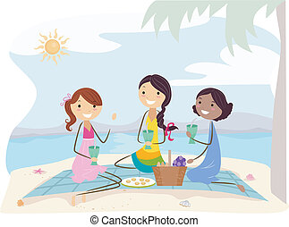 Beach Picnic - Illustration of Girls on a Picnic