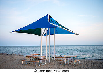 Beach Picnic Tables & Umbrella