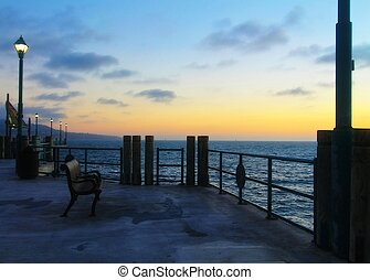Beach pier and the sunset