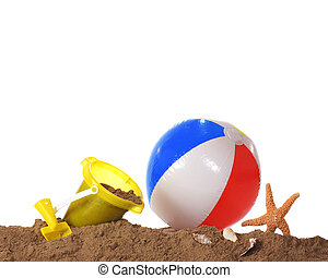 Beach Play Border - A sandy bottom border including a yellow...