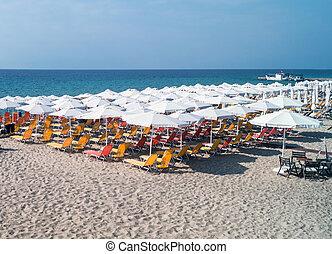 Beach ready for summertime in Greece