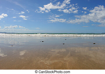 beach reflections - water reflections on the beach, in...