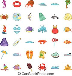 Beach relaxation icons set, cartoon style