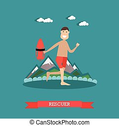 Beach rescuer vector illustration in flat style