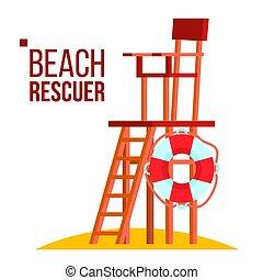 Beach Rescuer Vector. Isolated Flat Cartoon Illustration