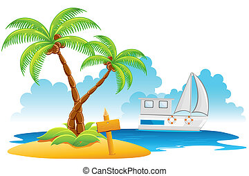 illustration of palm tree on island with yatch in sea