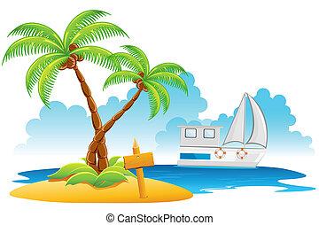 Beach Resort - illustration of palm tree on island with ...