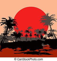 Beach resort in the tropics at sunset, vektor illustration.