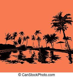Beach resort in the tropics, vektor illustration