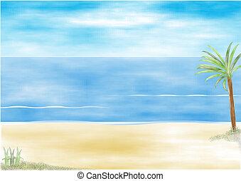 Beach resort scene with palm tree and blue sea, illustration