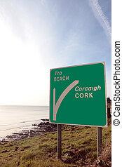 beach road sign