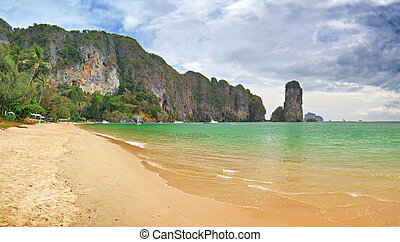 beach, rock and sea