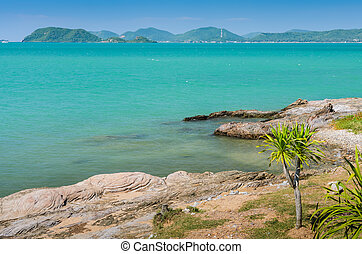 Beach rock shore - Tropical beach rock shore, Thailand