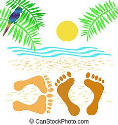 beach romance - lovers on the beach tropical illustration...