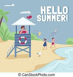 Beach safety, lifeguard tower social media post mockup. ...