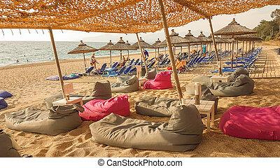 beach sand sea summer in preveza greece