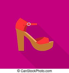 Beach sandal icon, flat style