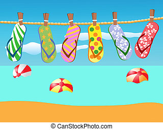 Beach sandals hanged on a rope - colorful flip-flops hanged...