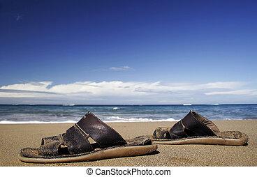 Beach Sandals - Leather sandals on golden beach