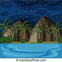 Beach Scene at Night with Stars