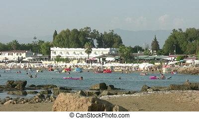Beach scene at Side Antalya Turkey - Summer holiday scenics