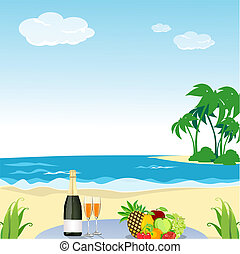 beach scene - illustration of beach scene