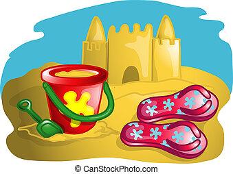 Beach scene illustration - Illustration of a sand castle, ...