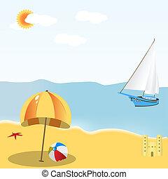 Beach Scene - Illustration of a summer beach scene, mild...
