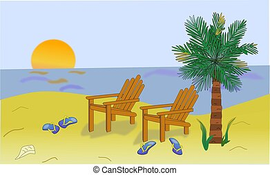 Illustration of a tropical beach scene, including two adirondack chairs and a palm tree.