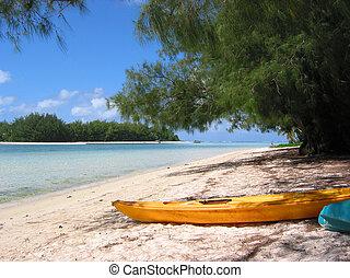 beach scene on Rarotonga, Cook Islands