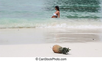 Beach scene. Pineapple.