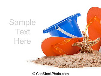 Beach scene with flipflops, sand, blue bucket and starfish on white with copy space