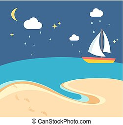 Beach scene with the sailing boat at a night