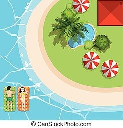 Beach scene with two tourists on floats illustration