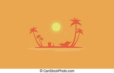 Beach scenery at sunrise silhouettes