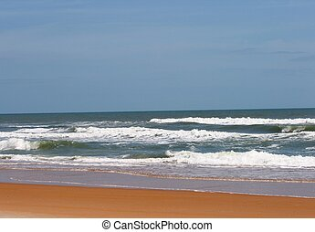 Beach Scenery - Waves coming on shore on the east coast of...