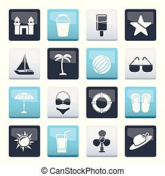 Beach, sea and holiday icons over color background