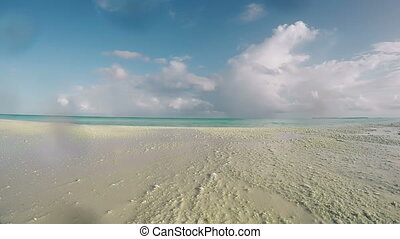 Beach, Sea, Sand, Wave, Blue Sky, Clouds at Tropical Island...