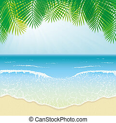 Beach, Sea Waves and Palm Leaves