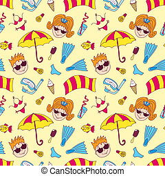Beach seamless pattern. Cartoon vector background.