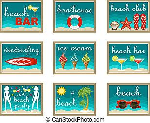 Beach set icons.