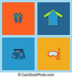 beach set - set of board shorts, flip flops, rash guard and ...