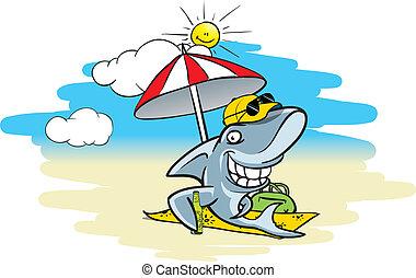 Cartoon illustration of a shark sitting on the beach under a sunshade, drinking beer
