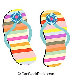 beach shoes against white background, abstract vector art illustration