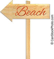Beach Sign, Vector Illustration
