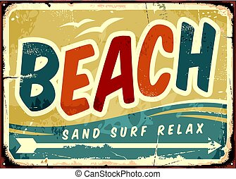 Beach sign vector retro background. Vintage sign board with...
