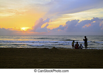 Beach Silhouette of Indian Family - Horizontal color...