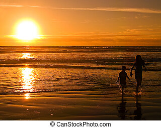 Beach Silhouettes at Sunset 2