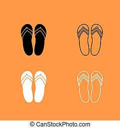 Beach slippers black and white set icon .